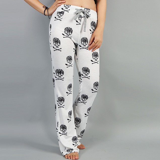 Women Casual Stretch Print Pants Straps Pocket Slim Loose Sport Full Pants
