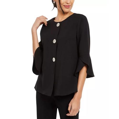 28Th & Park Women's Rhinestone Tulip Sleeve Jacket Black Size 8