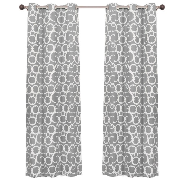 Printed Moroccan Scroll Blackout Window Curtain Panels - Set of 2