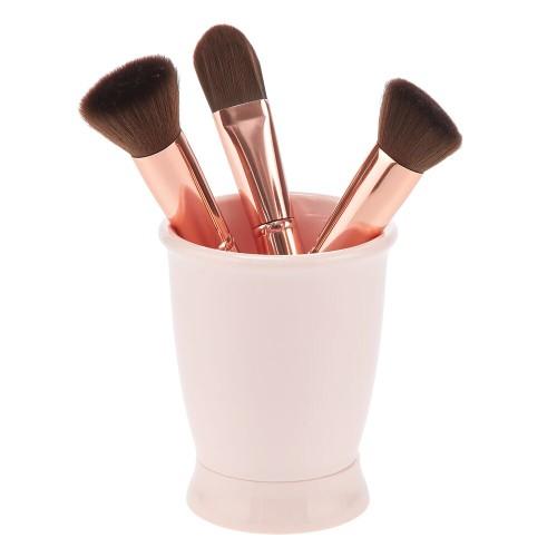 mDesign Plastic Tumbler Cup for Mouthwash, Makeup Brushes - Pink
