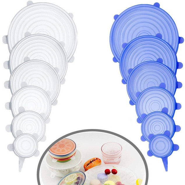 6pcs-Reusable Silicone Stretch Lids Kitchen Storage Wraps Cover