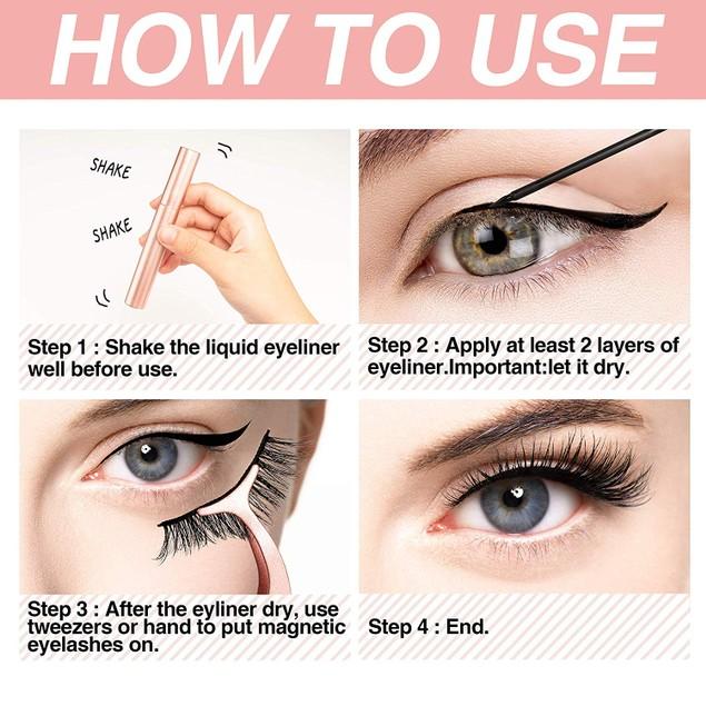 5 Pairs Magnetic Eyelashes Set with Magnet Eyeliner & Tweezer Kit