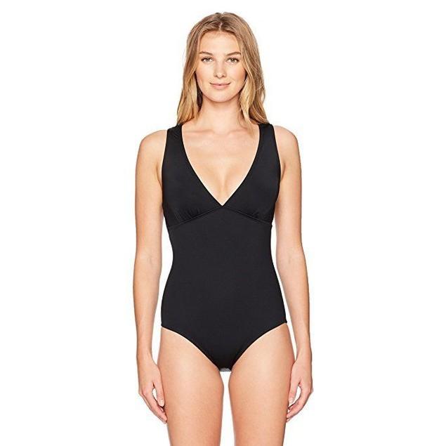 Jantzen Women's Solid Macrame Back One Piece Swimsuit, Black, Sz 6
