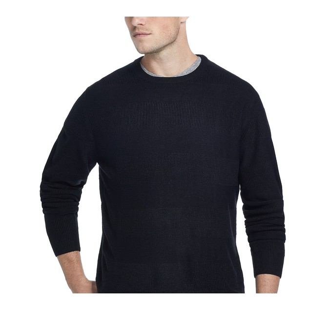 Weatherproof Vintage Men's Soft Touch Striped Sweater Black Size XX-Large