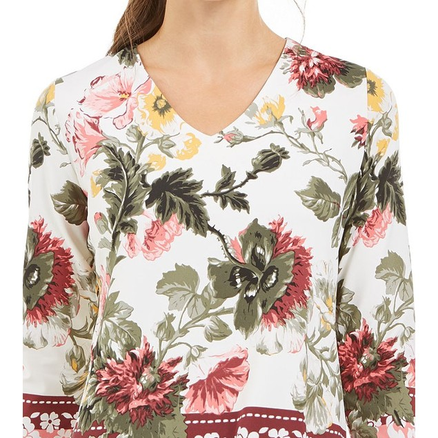 Charter Club Women's Garden Printed V-Neck Top  White Size X-Large