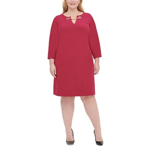Tommy Hilfiger Women's Plus Size Chain-Trim Sheath Dress Red Size Small