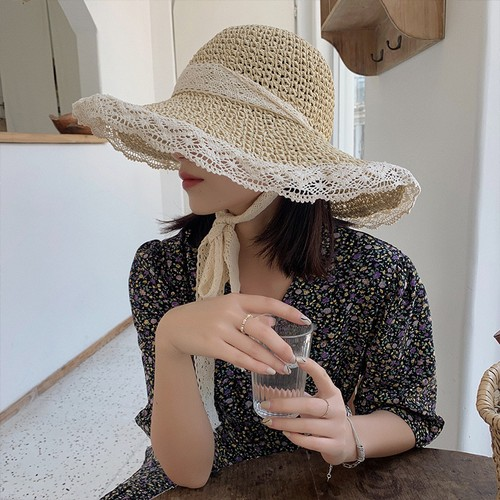Hollow Lace Women's Small Fresh Straw Hat