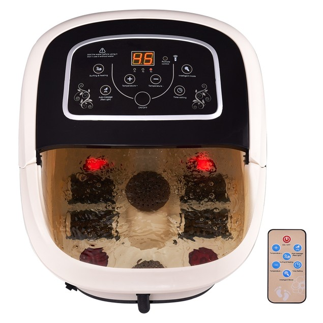 All-In-One Foot Spa Bath Massager Temp/Time Set Heat Vibration