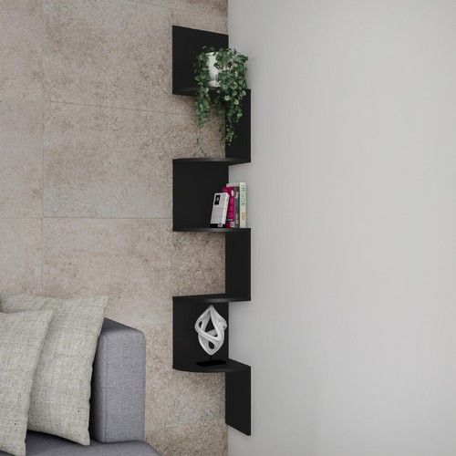 Floating Corner Shelf- 5 Tier Wall Shelves with Hidden Brackets