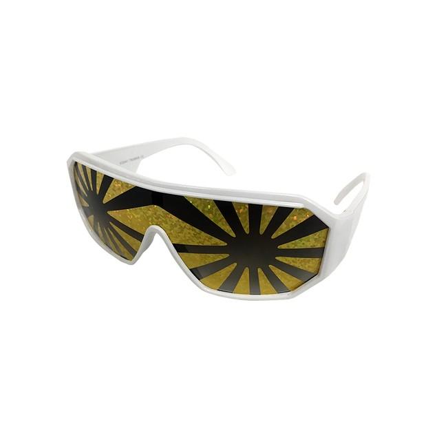 Macho Wrestler Sunglasses Gold Starburst on Black Lens with White Frame