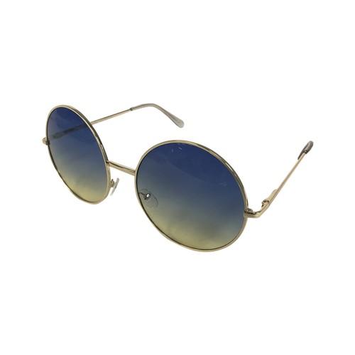 Blue/Yellow Fade Janis Joplin Round Sunglasses