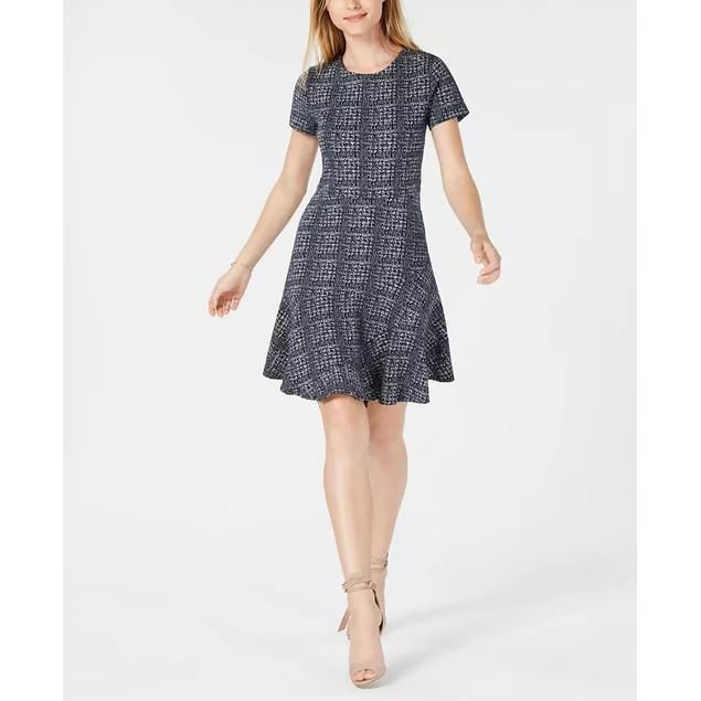 Maison Jules Women's Plaid Fit & Flare Dress Black Size Medium