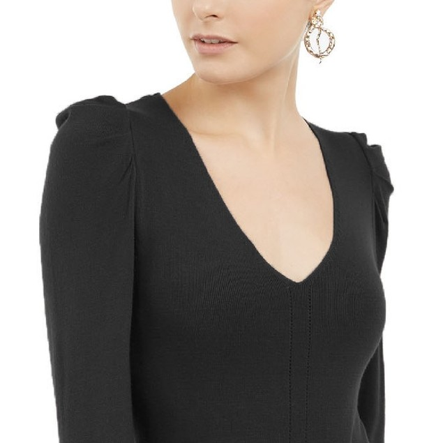 INC International Concepts Wo Puff-Sleeve Sweater Tunic Black Extra Large