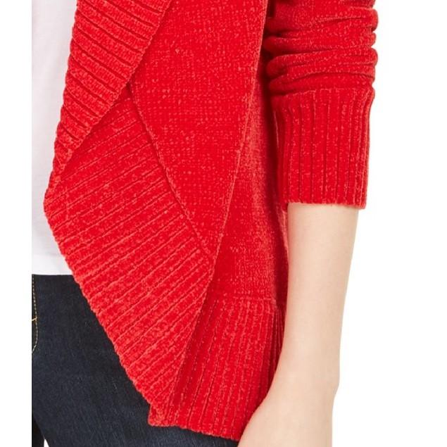 Style & Co Wo Petite Chenille Shawl-Collar Cardigan Red Polish Large