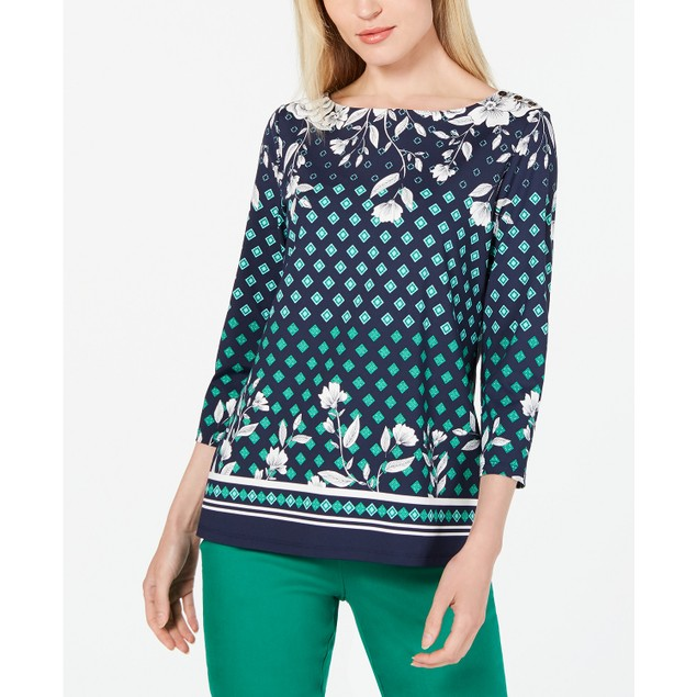 Charter Club Women's Printed Boat-Neck Top  Blue Size Large