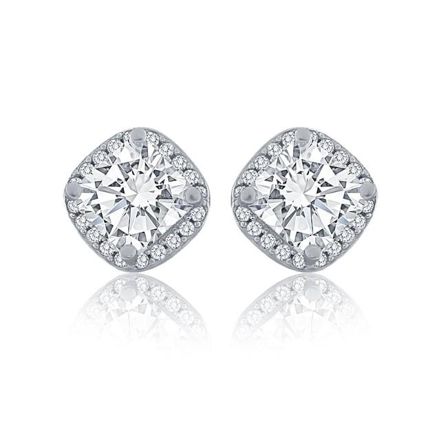 Genuine Square Crystal Sterling Silver Halo Stud Earrings