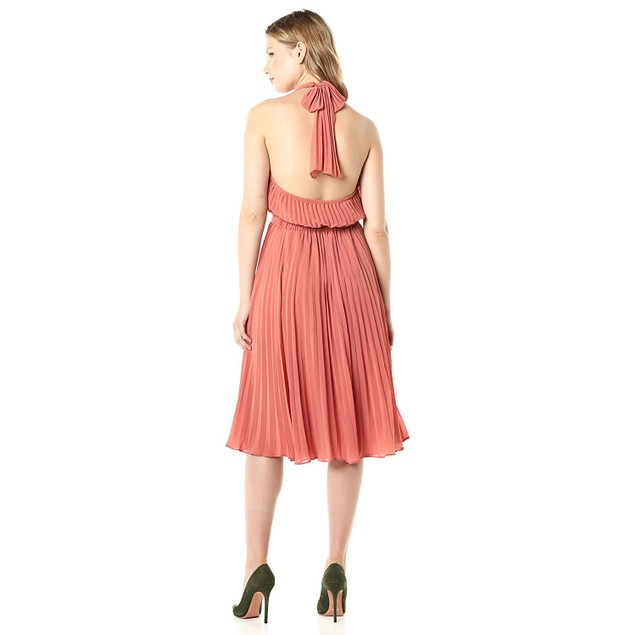 Aali-Jay Soho House 100% Polyester Chiffon Halter Dress, Large, Dusty Blush