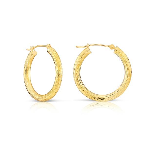 18K GOLD CLASSIC 30MM DIAMOND CUT HOOP EARRINGS