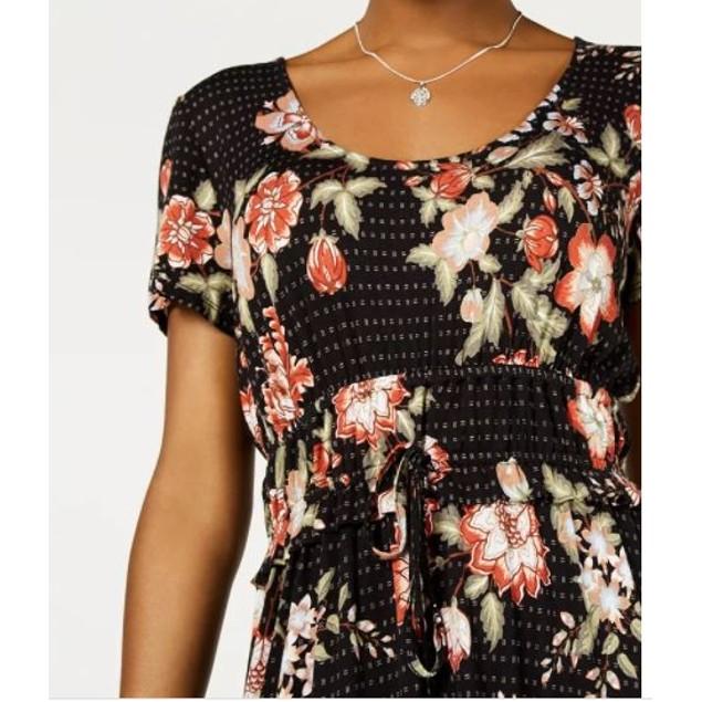 American Rag Junior's Printed Drawstring Waist Dress Black Size Medium