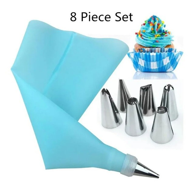 8Pcs Cake Baking Tools Stainless Steel Decorative Mouth Silicone Flower Bag