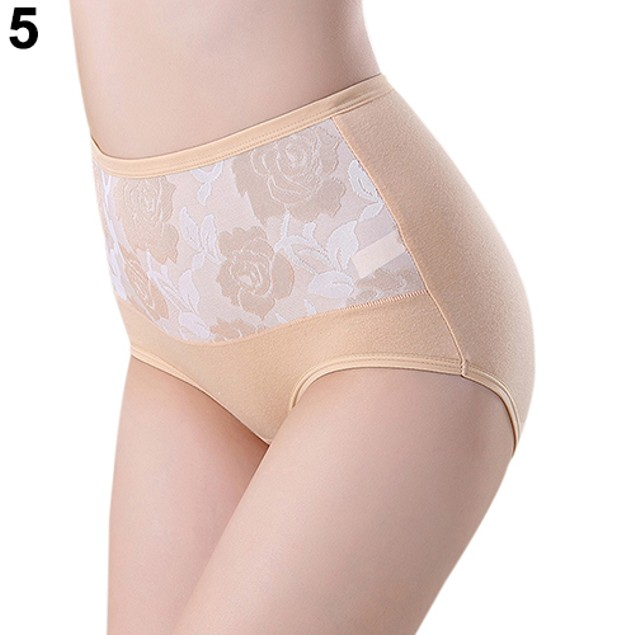 Women Flower Seamless High Waist Cotton Briefs