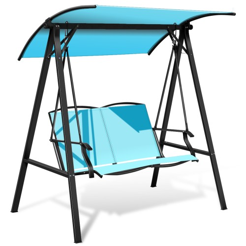 Costway Outdoor 2-Seat Swing Loveseat Canopy Hanging Swing