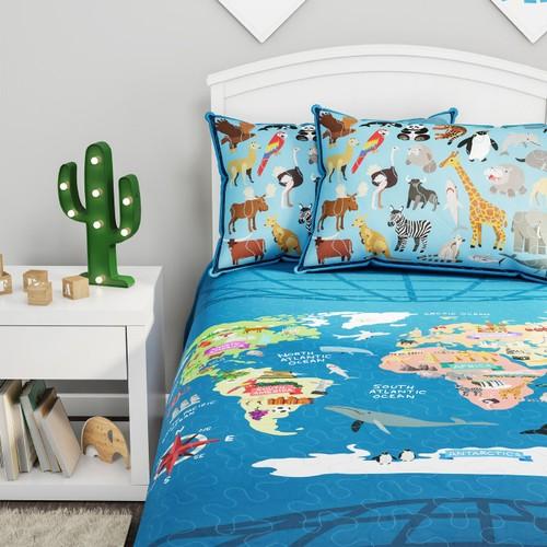 World Map 3 Piece Quilt Set-Twin XL Bedding & 2 Pillow Shams