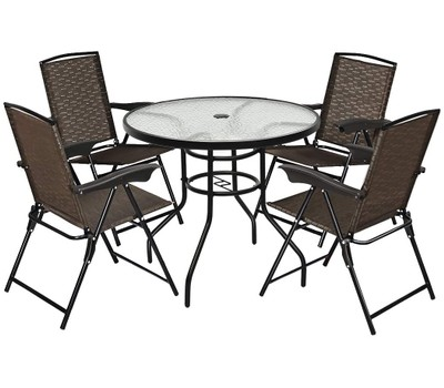 5 Piece Bistro Patio Set With 4 Folding Adjustable Chairs Was: $499.99 Now: $219.99.