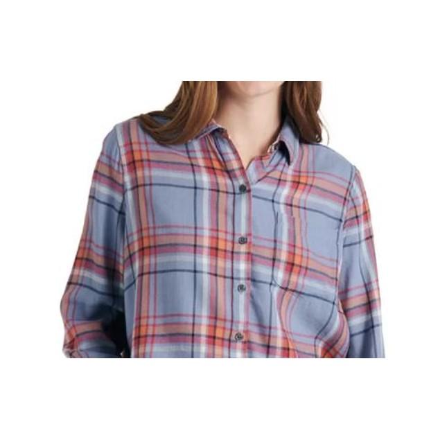 Lucky Brand Women's Plaid Shirt Navy Size Medium