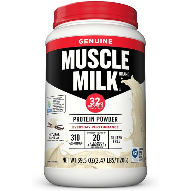 Muscle Milk Genuine Protein Powder with Vanilla Creme Flavor, 30.9 Oz.