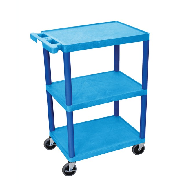 "Luxor 34"" Three Flat Shelves Structural Foam Utility Cart - Blue"