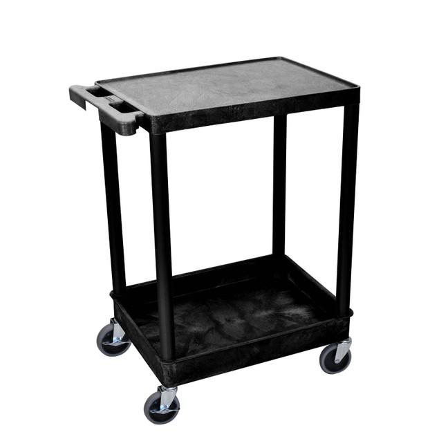 "Luxor 36"" Top Flat and Bottom Tub Shelves Cart - Black"