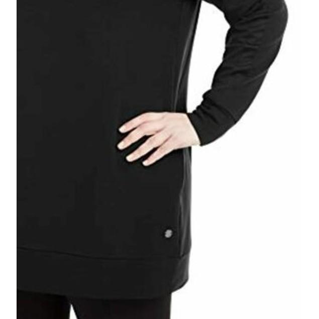 Ideology Women's Plus Size Crewneck Tunic Top  Deep Black Size 3X