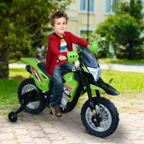 Ride-On Children Motorcycle w/ Real Driving Sounds Fun Built-In Music Green