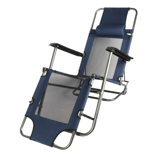 BIGTREE Zero Gravity Lounge Recliner Patio Deck Pool Beach Mesh Travel Chair Footrest Pillow Headrest Navy