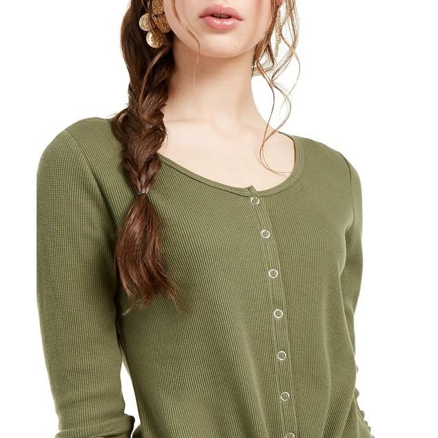 Ultra Flirt Women's Juniors' Tie-Hem Thermal Top Green Size Small