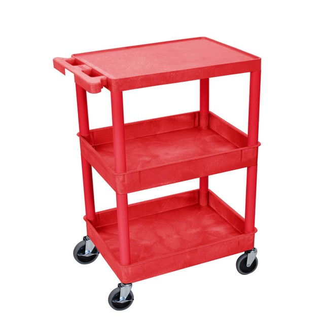 """Luxor 36"""" Top Flat and Middle/Bottom Tub Shelves Utility Cart - Red"""