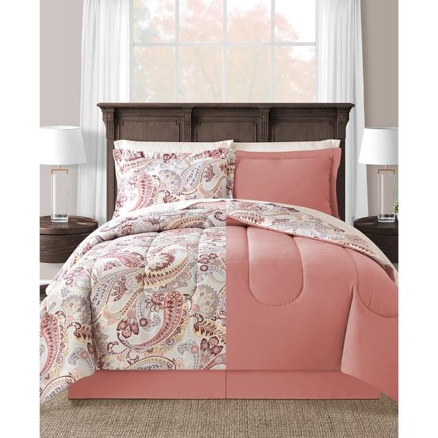 """Sunham Meral Polyester Fill 8 Pc (76""""x86"""") Full Comforter Set, Natural"""