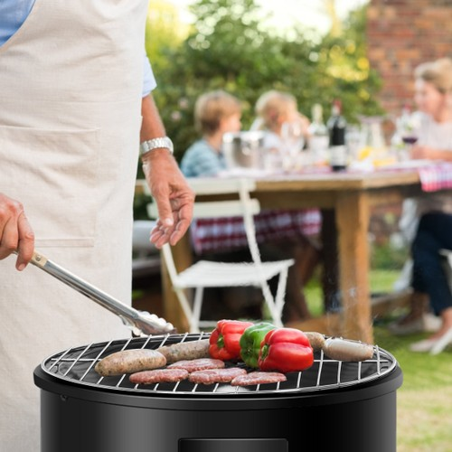 Costway 3-in-1 Portable Round Charcoal Smoker Vertical BBQ Grill Built-in T