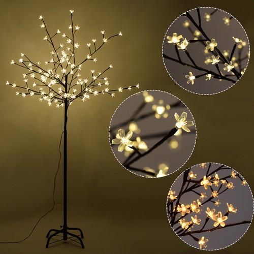 Costway Christmas Xmas Cherry Blossom LED Tree Light Floor Lamp Holiday Dec