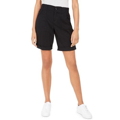 Style & Co Women's Roll-Tab Bermuda Shorts Black Size 4