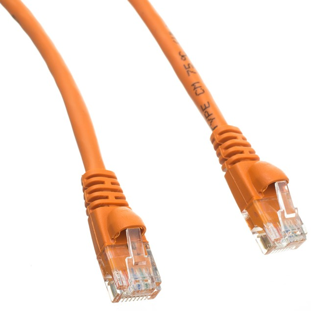 Cat5e Orange Ethernet Patch Cable, Snagless/Molded Boot, 50 foot