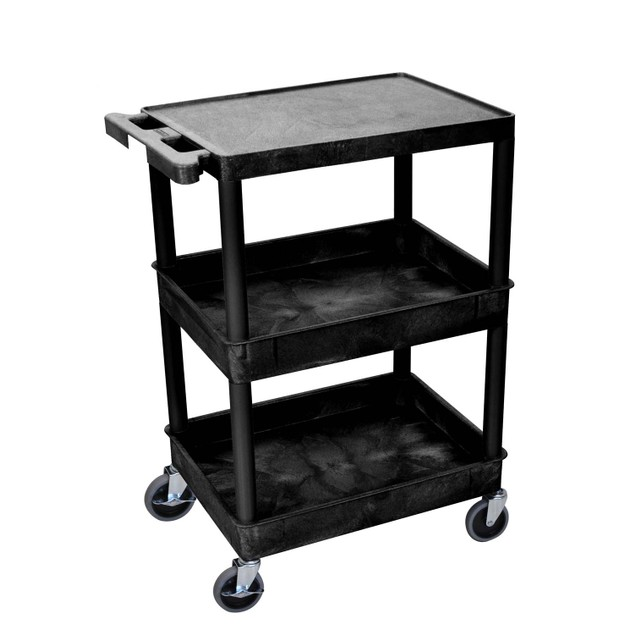 """Luxor 37"""" Top Flat and Middle/Bottom Tub Shelves Utility Cart - Black"""