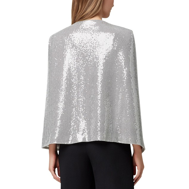 Tahari ASL Women's Shiny Cape Jacket Silver Metalic Size Small