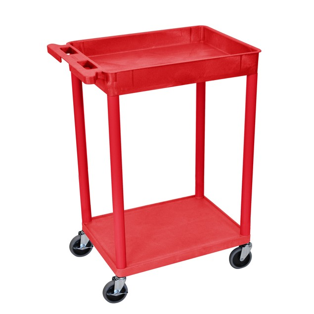 """Luxor 36"""" Top Tub and Bottom Flat Shelves Utility Cart - Red"""