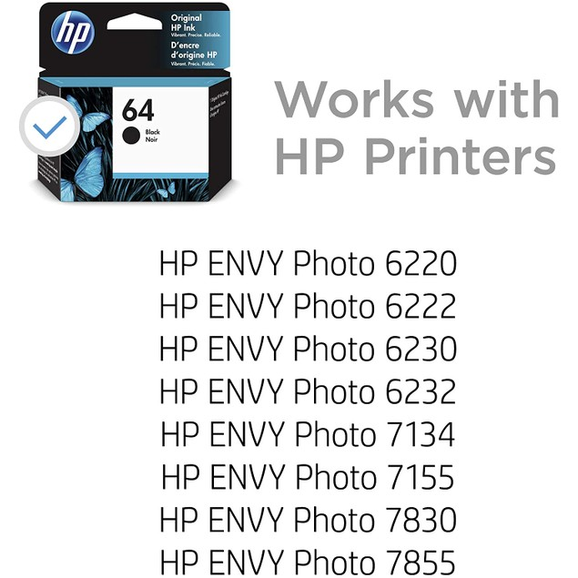 HP 64 | Ink Cartridge | Works with HP ENVY Photo 6200 Series, 7100 Series, 7800 Series, HP Tango and HP Tango X | Black | N9J90AN