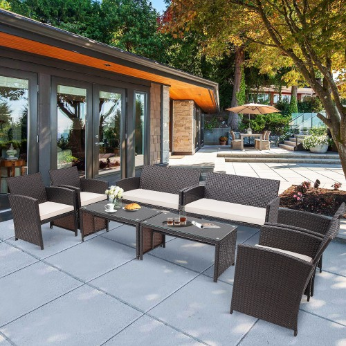 Costway 8PCS Patio Rattan Furniture Set