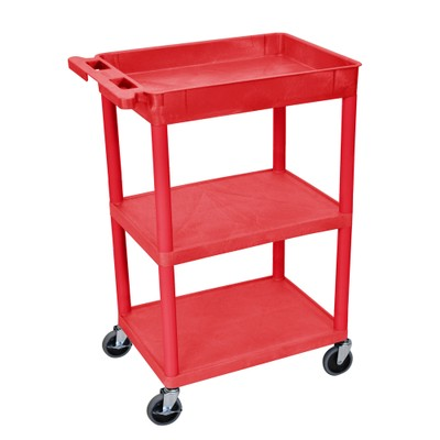 """Luxor 37"""" Top Tub and Middle/Bottom Flat Shelves Utility Cart - Red"""