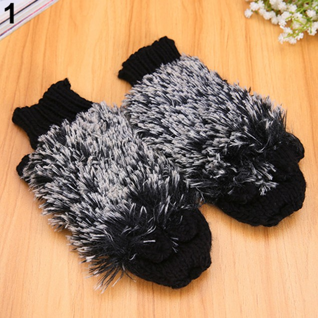 Woman Erinaceus Hedgehog Winter Warm Outdoor Gloves