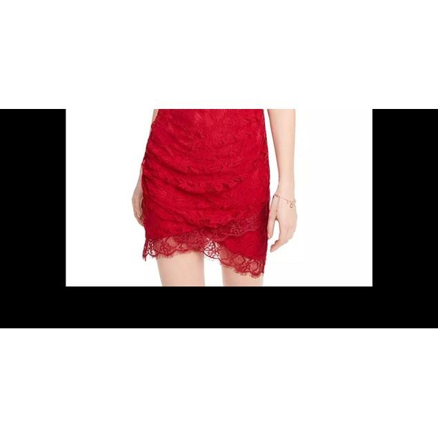 Speechless Junior's Lace Halter Wrap Skirt Dress Medium Red Size Large